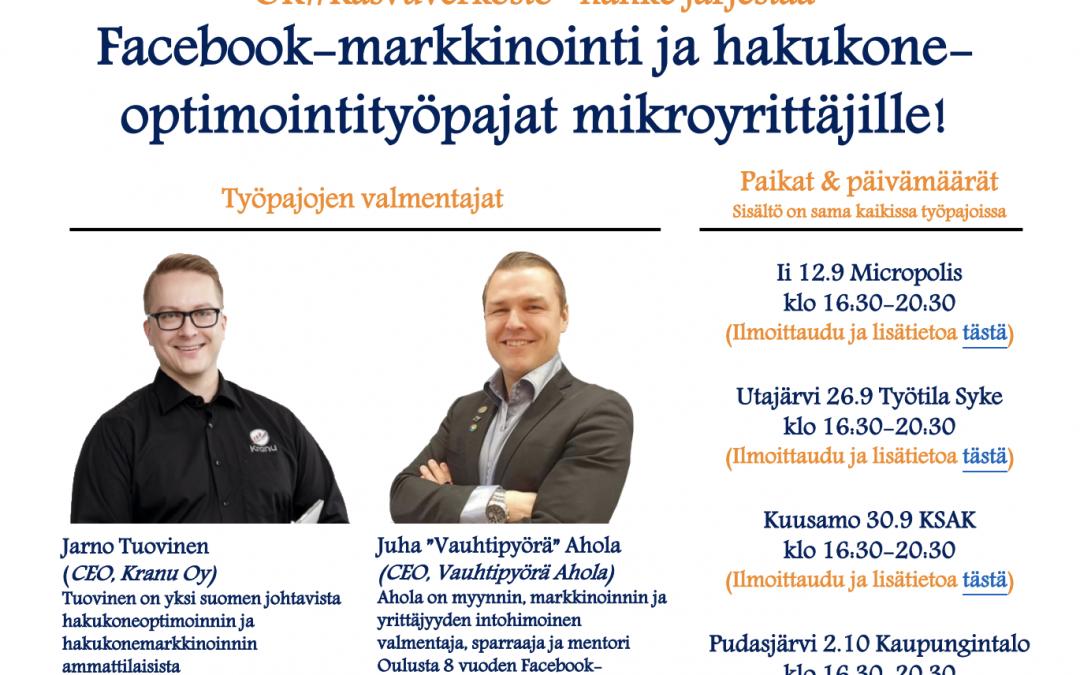 Hakukoneoptimointi- ja Facebook-markkinointityöpajat mikroyrittäjille!